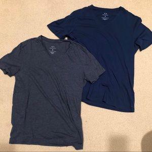 2 Armani Exchange V-Neck Tees - Blue